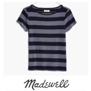 Madewell Navy Stripe Short Sleeve Sweater